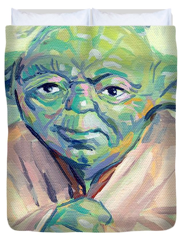 Yoda Duvet Cover featuring the painting Yoda by Kimberly Santini