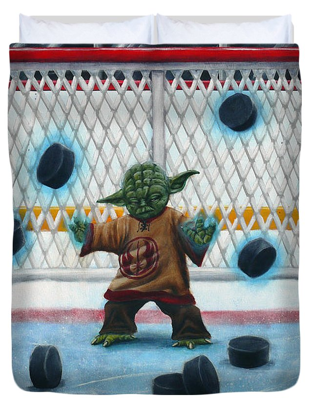 Star Wars Duvet Cover featuring the painting Yoda Saves Everything by Marlon Huynh