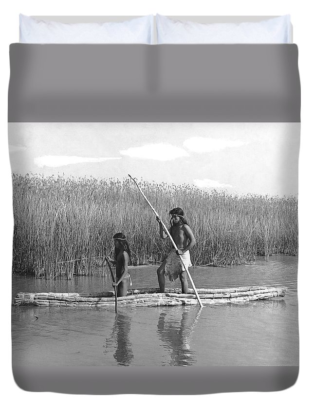1920s Duvet Cover featuring the photograph Yokuts Poling Tule Boats by Underwood Archives Onia