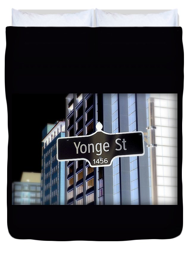 Yonge Duvet Cover featuring the photograph Yonge Street by Valentino Visentini