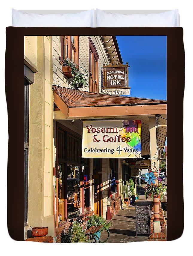 Mariposa California Duvet Cover featuring the photograph Yosemi Tea Coffee Shop Mariposa California 6935 by Jack Schultz