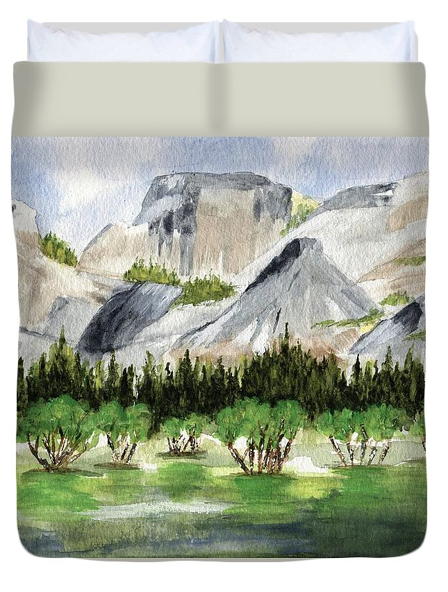 Watercolor Duvet Cover featuring the painting Yosemite 1 by Jamie Frier
