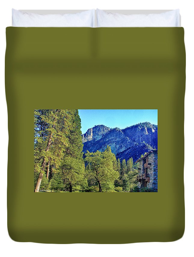 California Duvet Cover featuring the photograph Yosemite Ahwahnee Hotel Courtyard by Bob and Nadine Johnston