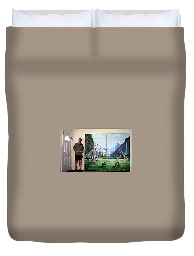 Mural Duvet Cover featuring the painting Yosemite Dreams Mural On Doors by Frank Wilson