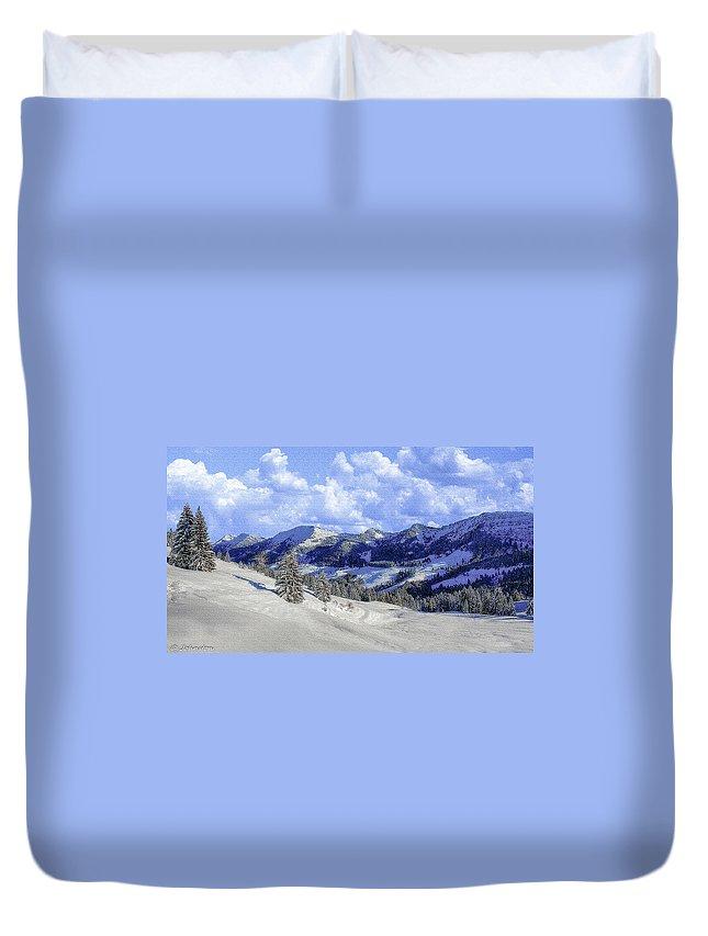 Yosemite Nationa Park Winter Duvet Cover featuring the photograph Yosemite National Park Winter by Bob and Nadine Johnston