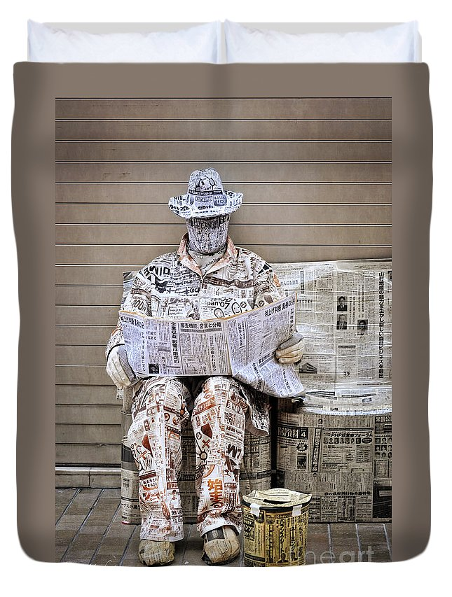 Newspaper Duvet Cover featuring the photograph You Are What You Read by Mary Machare