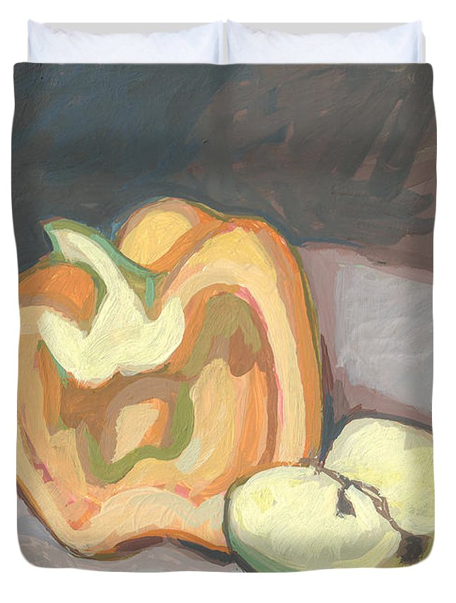 Pepper Duvet Cover featuring the painting You Can't Put Two Sides Together And Make A Whole by Richard Glen Smith