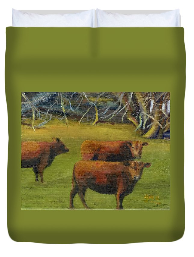 Beef Duvet Cover featuring the painting You Talking To Me by Gloria Condon