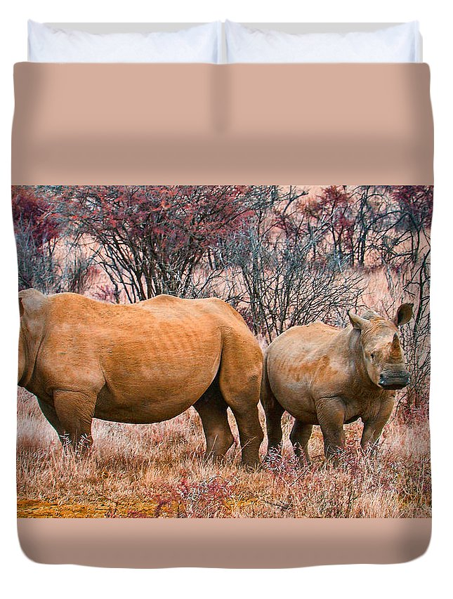Rhinos Duvet Cover featuring the photograph You Watch My Back And I Will Do The Same For You by Douglas Barnard