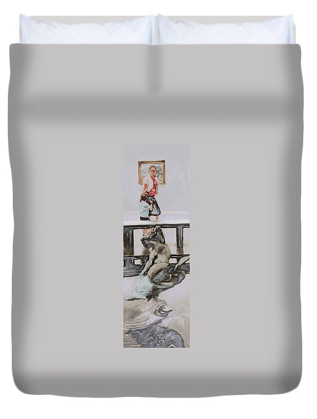 Philadelphia Duvet Cover featuring the digital art Young Gallery Visitor by Ian MacDonald
