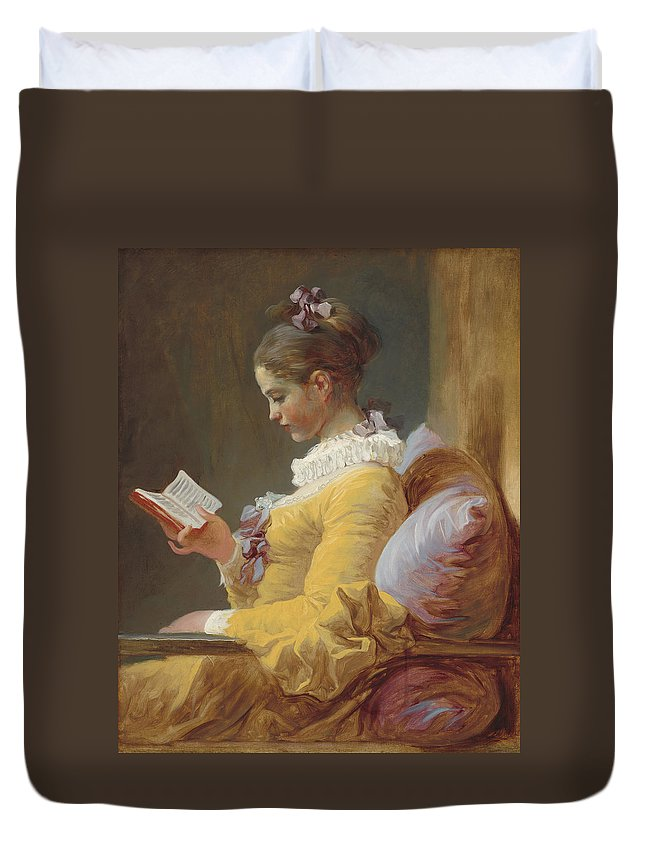 Jean-honore Fragonard Duvet Cover featuring the painting Young Girl Reading by Jean-Honore Fragonard