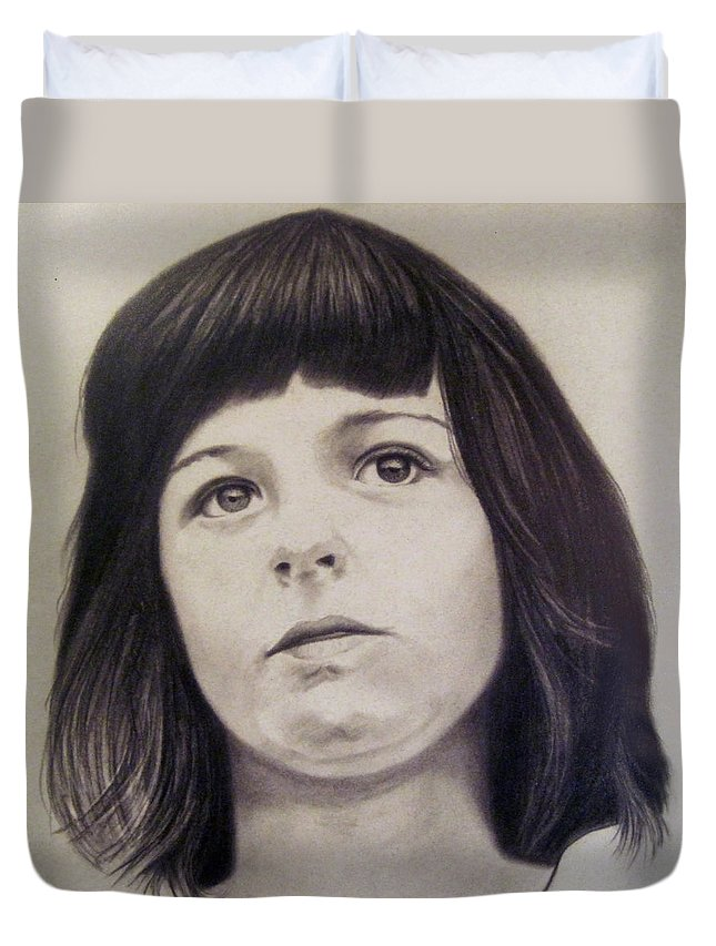 Girl Duvet Cover featuring the drawing Young Girl by Van Bunch