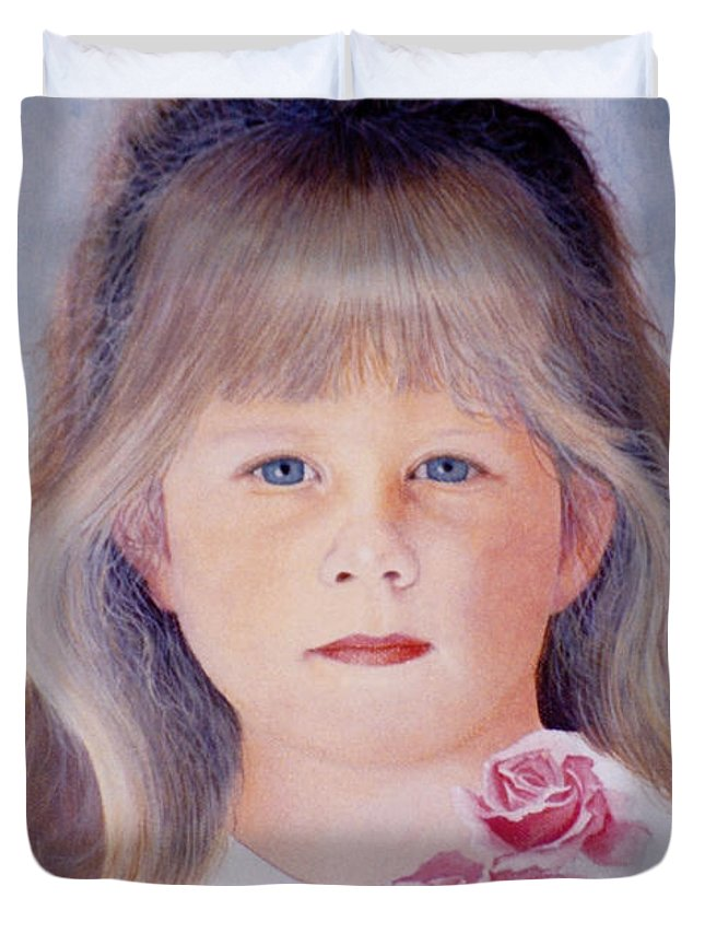 Young Duvet Cover featuring the painting Young Girl With Roses by Van Bunch