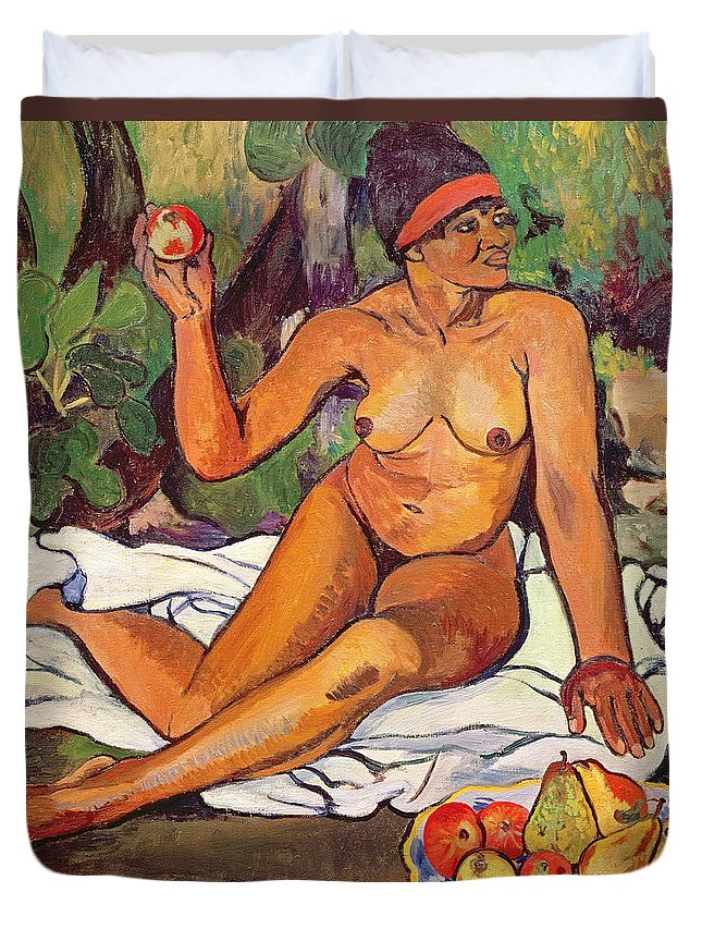 Female; Nude; Red Headband; Seated; Portrait; Fruit; Apples; Pears; Exotic Duvet Cover featuring the painting Young Half Caste Woman by Marie Clementine Valadon