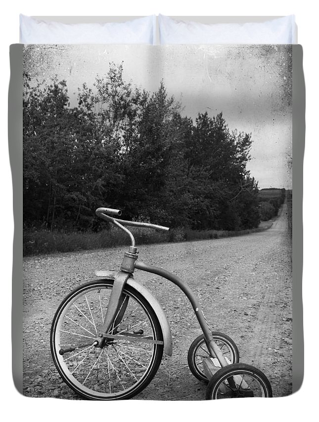 Kids Duvet Cover featuring the photograph Young Kid Old Road by The Artist Project