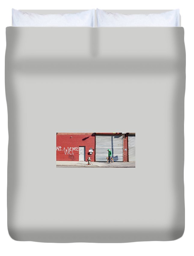 Pets Duvet Cover featuring the photograph Young Man Walks Dog by Alex Potemkin