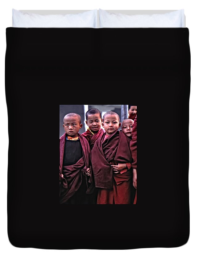 Buddhism Duvet Cover featuring the photograph Young Monks II by Steve Harrington