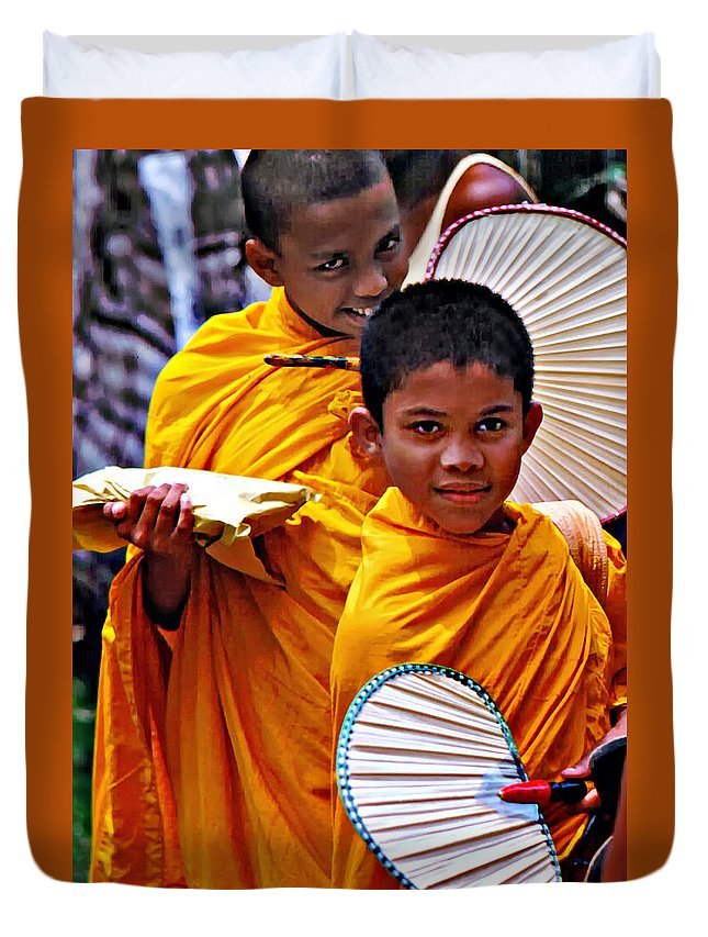Buddhism Duvet Cover featuring the photograph Young Monks by Steve Harrington