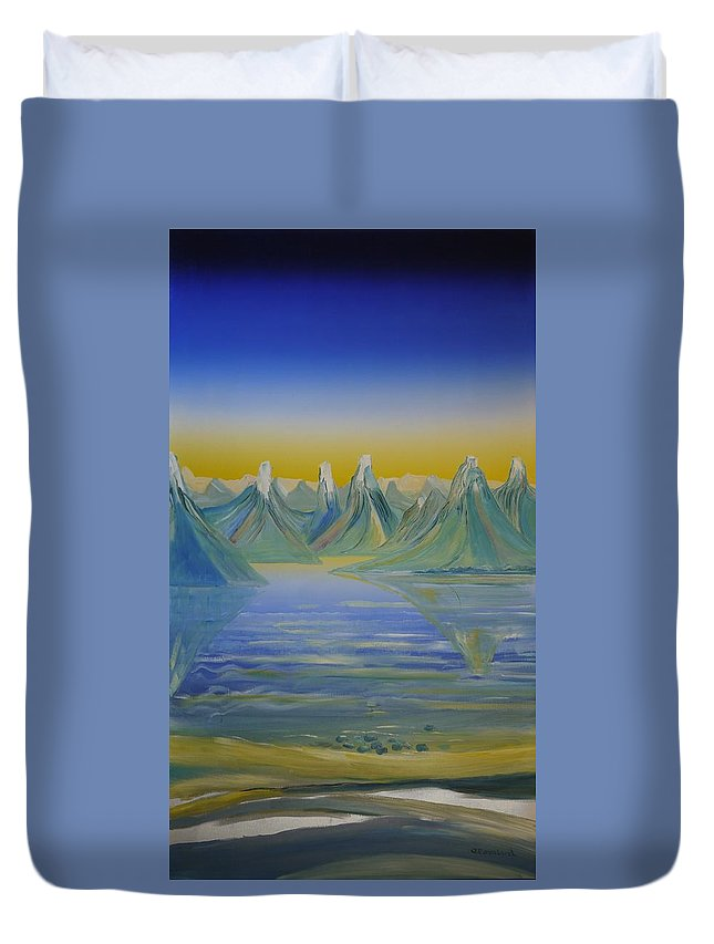 Duvet Cover featuring the painting Young Mountains In Lofoten. by Jarle Rosseland