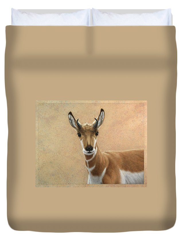 Cute Duvet Cover featuring the painting Young Pronghorn by James W Johnson