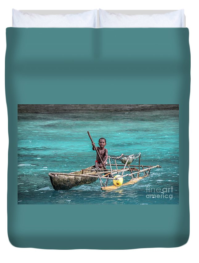 Child Duvet Cover featuring the photograph Young Seaman by Jola Martysz