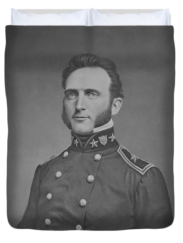 Stonewall Jackson Duvet Cover featuring the photograph Young Stonewall Jackson by War Is Hell Store