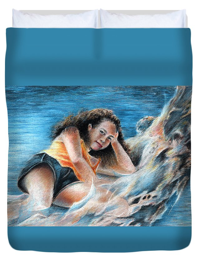 Travel Duvet Cover featuring the painting Young Tahitian Mermaid by Miki De Goodaboom