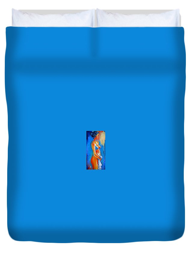 Nude Duvet Cover featuring the painting Young Woman by Elise Palmigiani