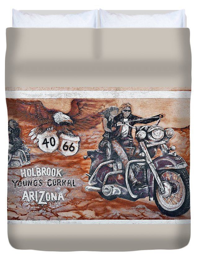 Youngs Duvet Cover featuring the photograph Young's Corral In Holbrook Az On Route 66 - The Mother Road by Christine Till