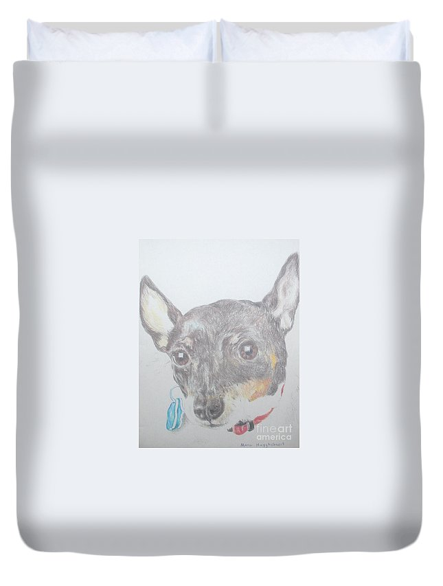 Little Duvet Cover featuring the painting Your Cutiepie by PainterArtist FIN