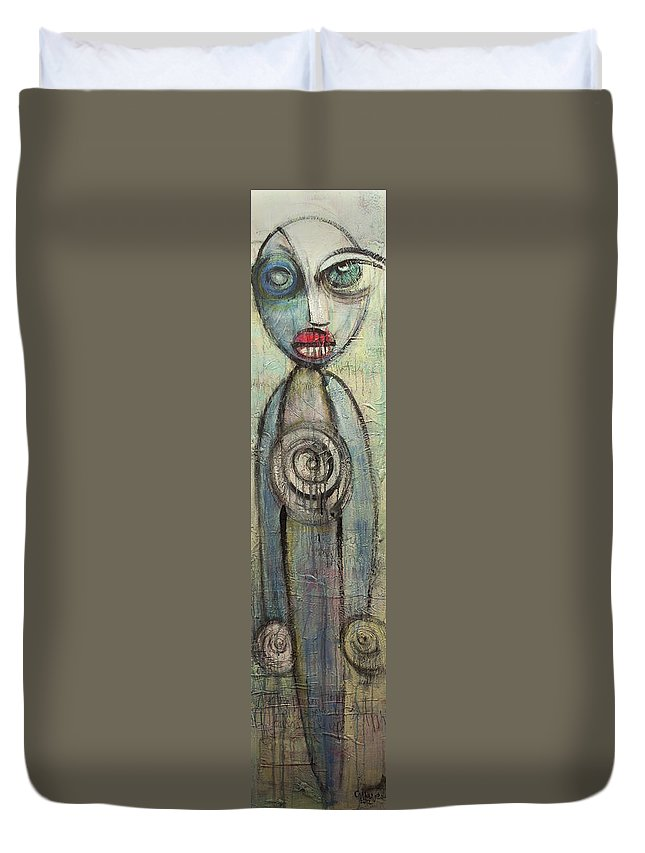 Abstract Duvet Cover featuring the painting Your Light Blue Towers Rise Up by Laurie Maves ART