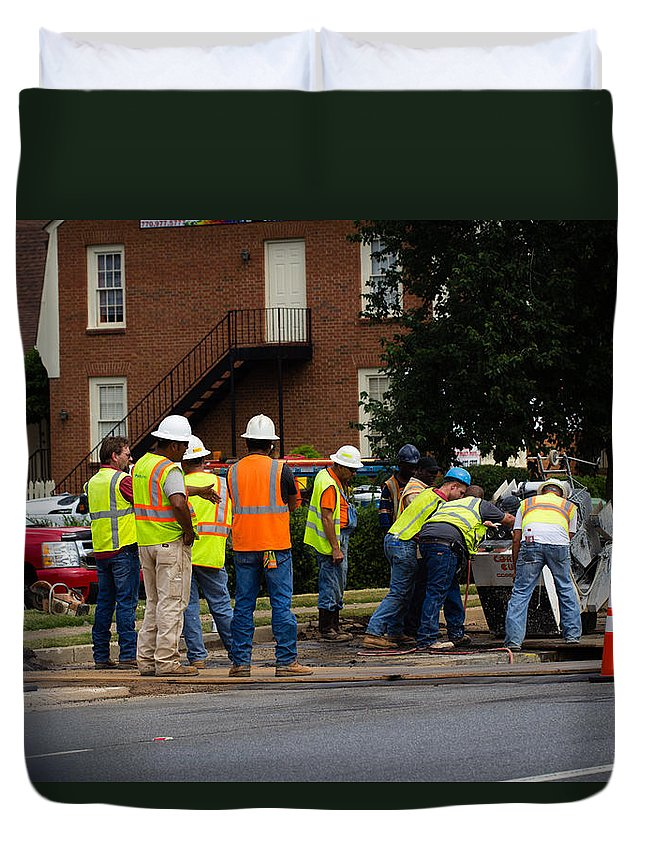 Men Working Duvet Cover featuring the photograph Your Tax Dollars At Work by Christy Cox