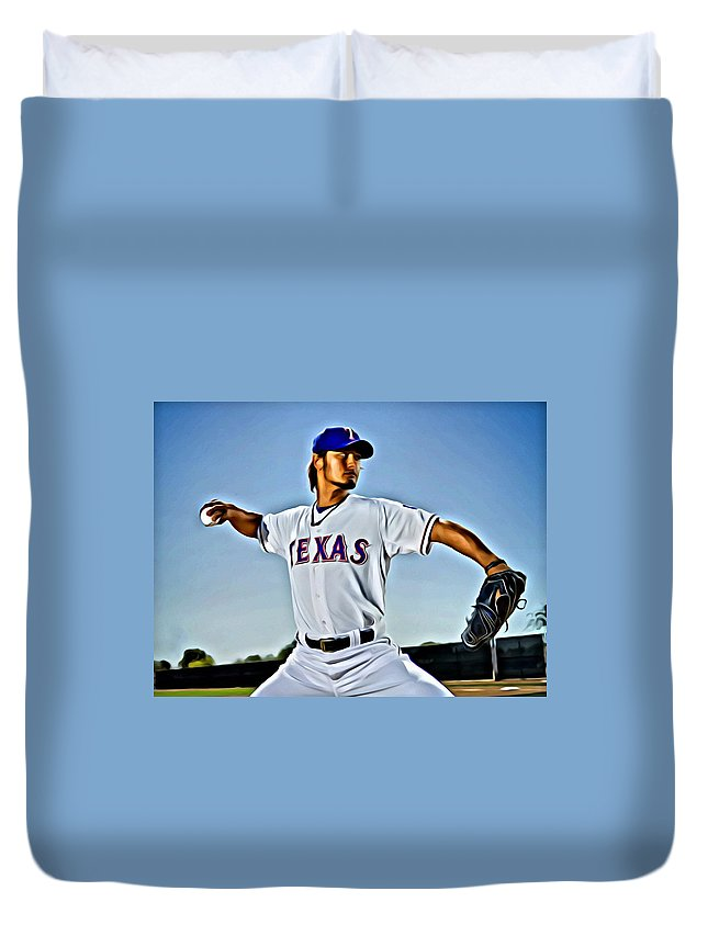 Mlb Duvet Cover featuring the painting Yu Darvish Painting by Florian Rodarte
