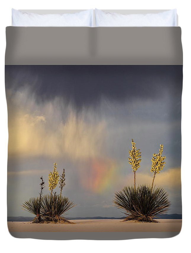 Tranquility Duvet Cover featuring the photograph Yuccas, Rainbow And Virga by Don Smith