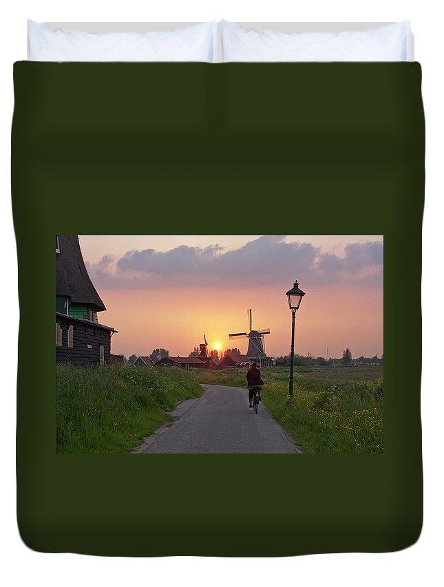North Holland Duvet Cover featuring the photograph Zaanse Schans Windmills by Ivan
