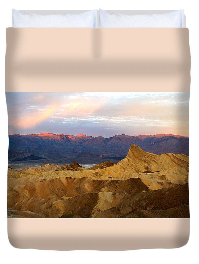 California Duvet Cover featuring the photograph Zabriskie Point Sunrise Death Valley by Ed Riche