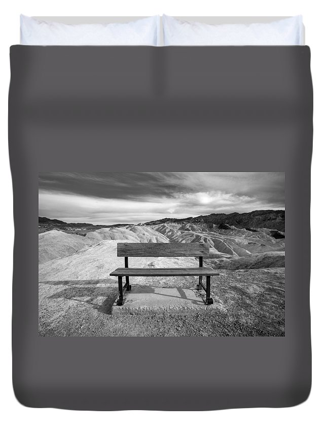Bench Duvet Cover featuring the photograph Zabriskie's Bench by Peter Tellone