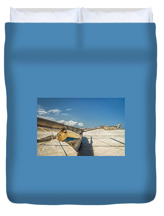 3scape Duvet Cover featuring the photograph Zanzibar Outrigger by Adam Romanowicz