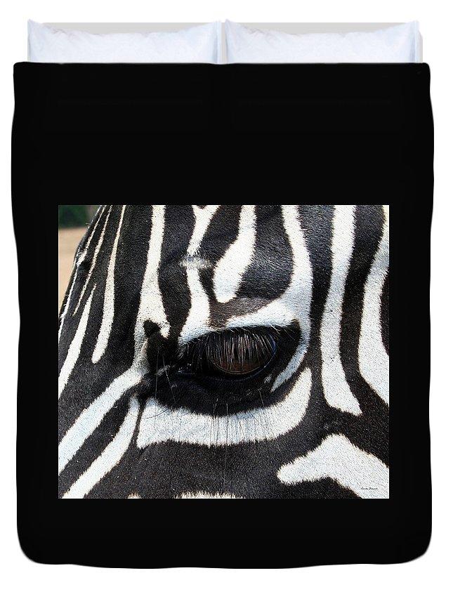 Zebra Duvet Cover featuring the photograph Zebra Eye by Linda Sannuti