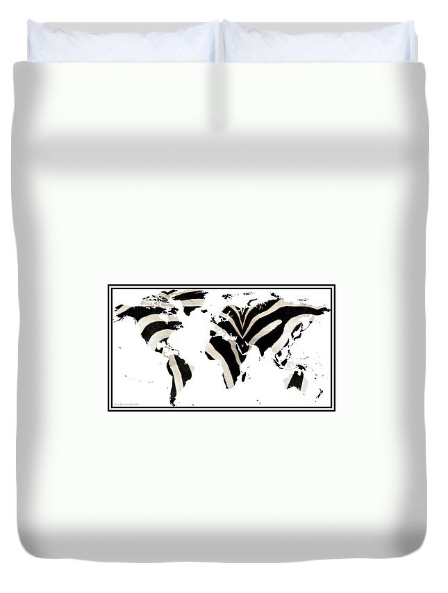 Zebras Duvet Cover featuring the photograph Zebra Fur World Map by Rose Santuci-Sofranko