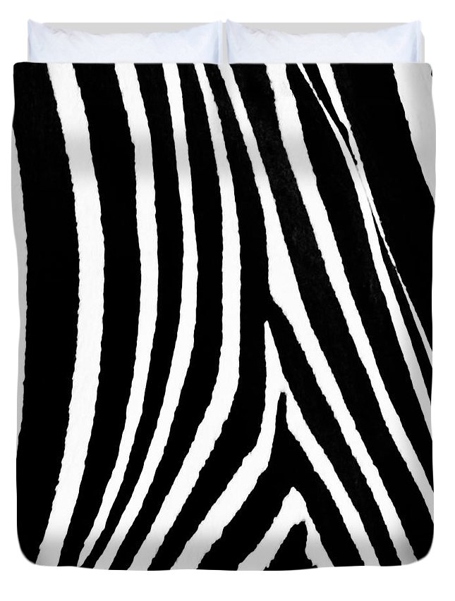 Zebra Duvet Cover featuring the photograph Zebra Hide by Timothy Flanigan and Debbie Flanigan Nature Exposure