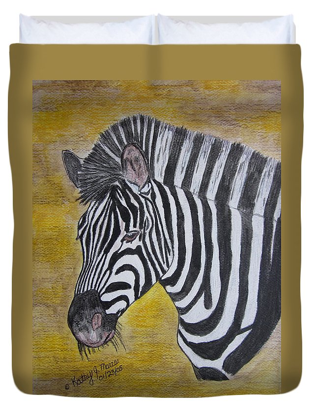 Zebra Duvet Cover featuring the painting Zebra Portrait by Kathy Marrs Chandler