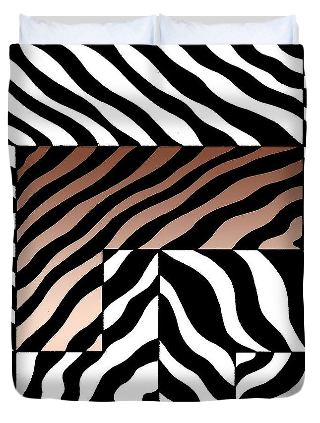 Graphic Image Duvet Cover featuring the drawing Zebra Squares by Joseph J Stevens
