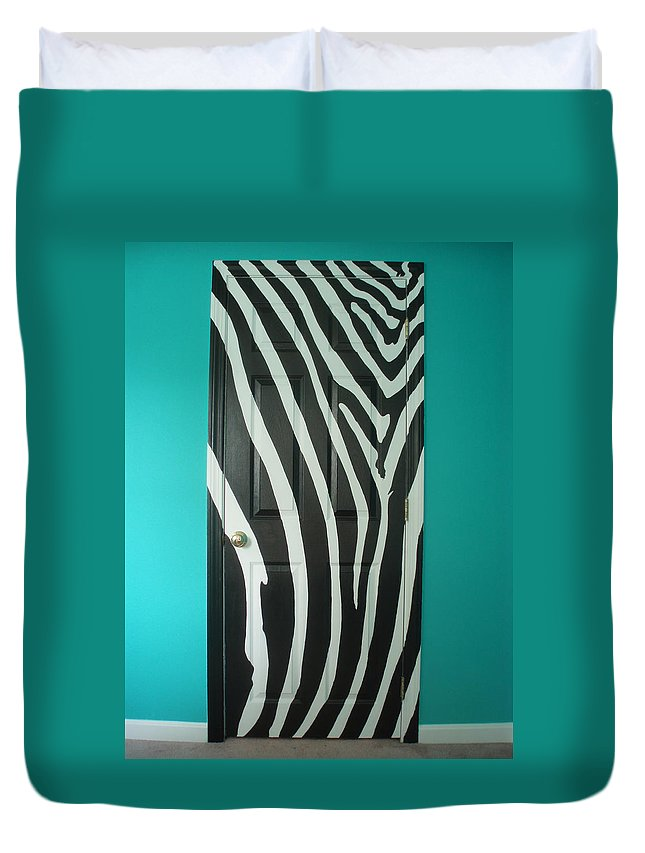 Design Duvet Cover featuring the painting Zebra Stripe Mural - Door Number 1 by Sean Connolly