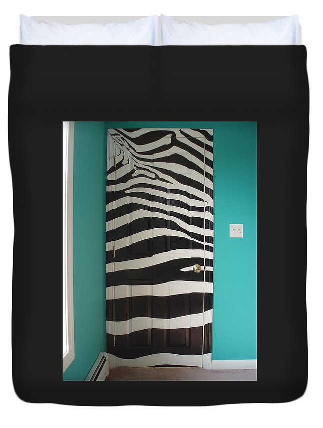 Design;mural; Zebra; Stripes; Wild; Black And White Duvet Cover featuring the painting Zebra Stripe Mural - Door Number 2 by Sean Connolly