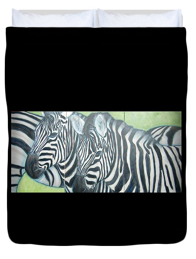 Zebra Duvet Cover featuring the painting Zebra Triptych General by Isabelle Ehly