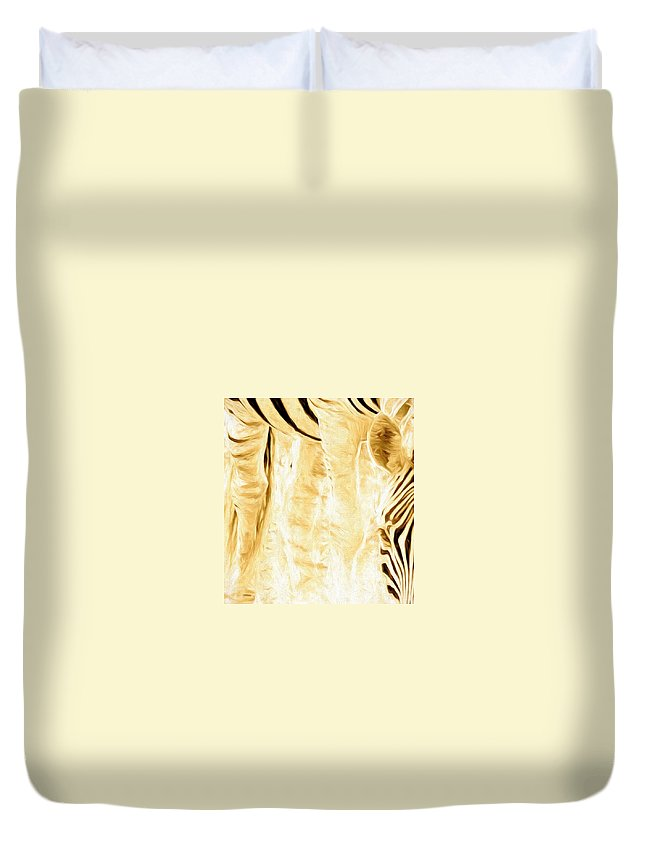 Zebra Duvet Cover featuring the photograph Zebra Up Closer by Alice Gipson