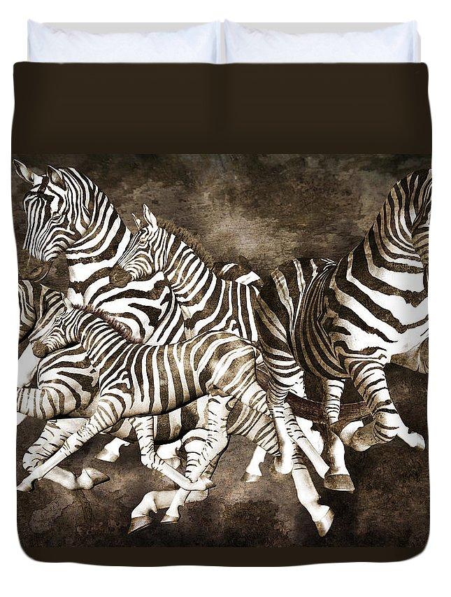 Fantasy Duvet Cover featuring the digital art Zebras by Betsy Knapp