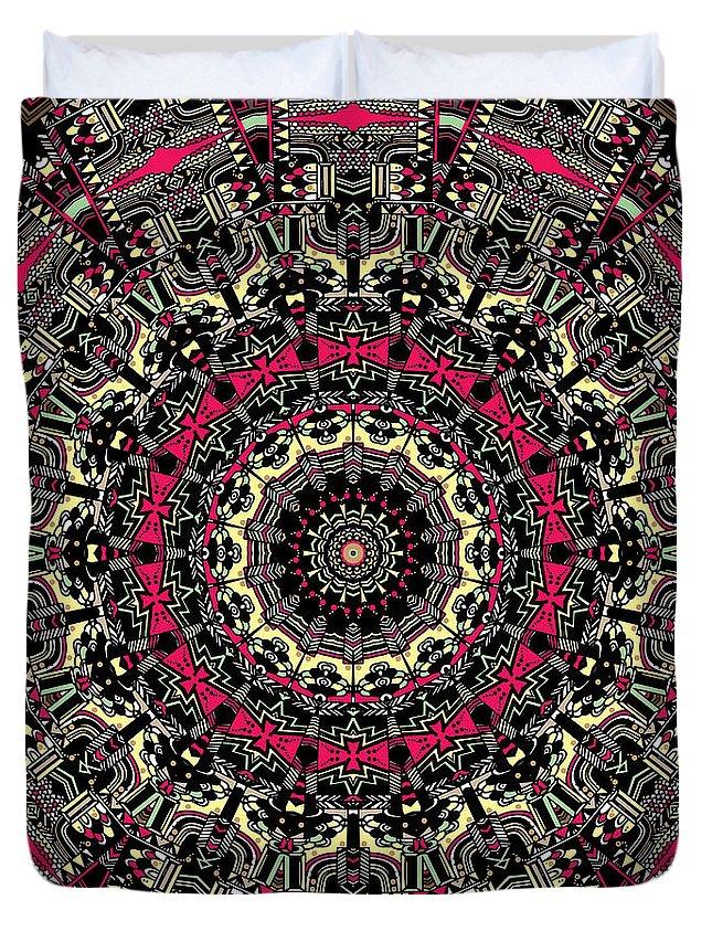Mandala Duvet Cover featuring the digital art Zentangle No. 7 Kaleidoscope by Joy McKenzie