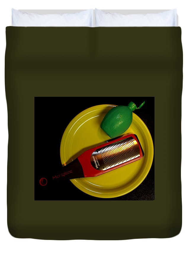 Food Duvet Cover featuring the photograph Zest Of One Lime by David Dufresne